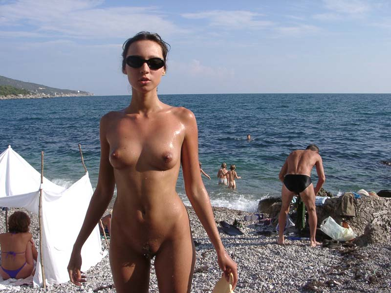 public nude naked woman
