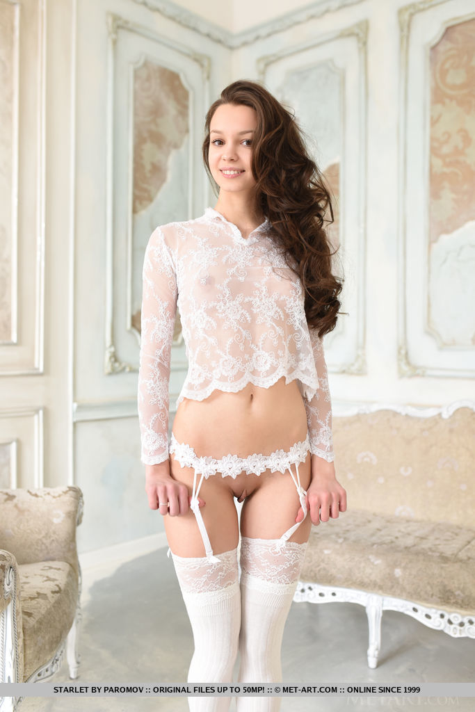 Starlet strisp her see-through lingerie as she flaunts her sweet, endearing looks and youthful, petite body.
