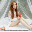Real redheaded girl has some picnic outdoors