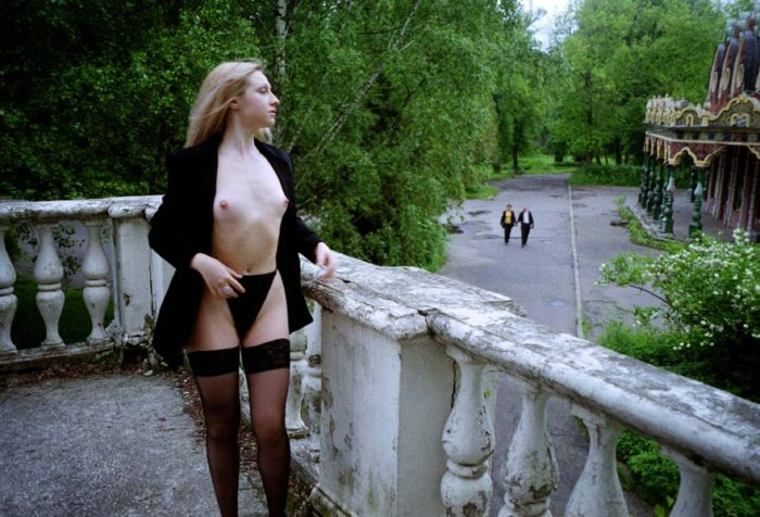 Vintage photos of blonde in stockings in Moscow park