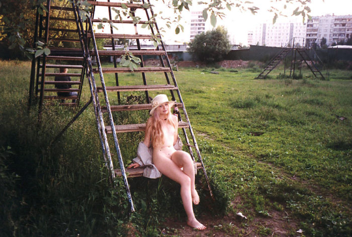 Vintage photos of russian blonde outdoors