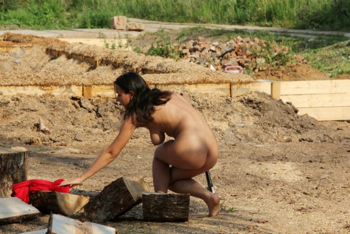 Busty teen brunette helps workers at construction site