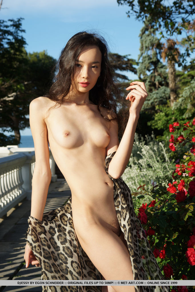 Djessy bares her petite body and unshaven pussy as she poses outdoors.