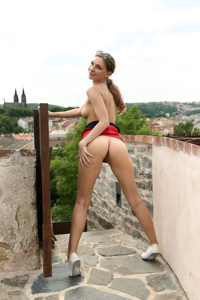 Galina A strips outdoors as she displays her sexy body in public.