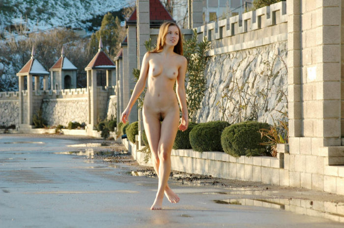 Naked babe with hairy pussy near wall