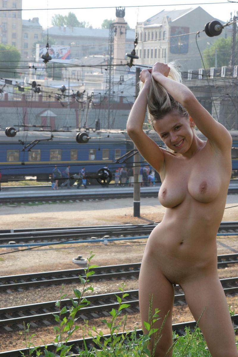 Train of naked women