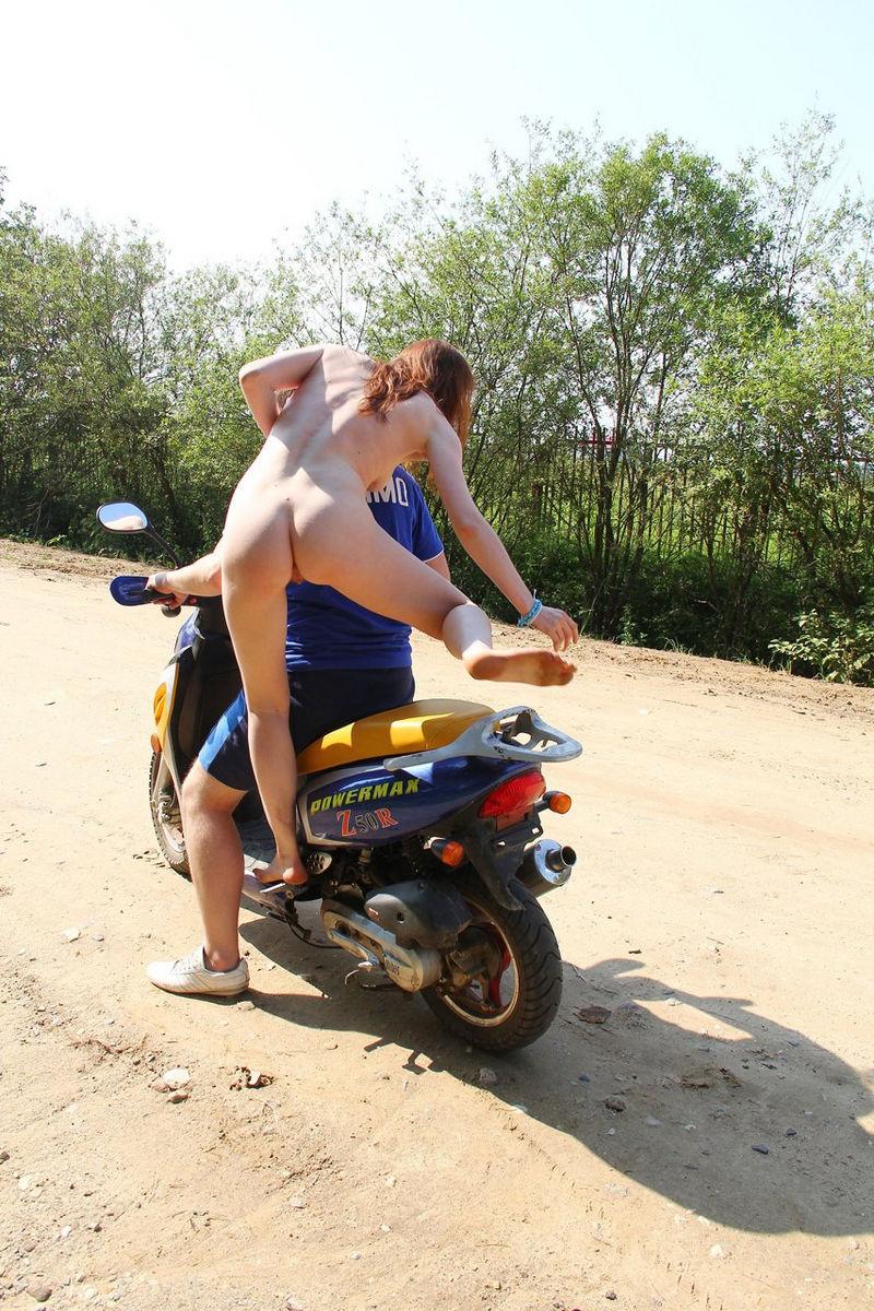 naked motorcycle girl legs