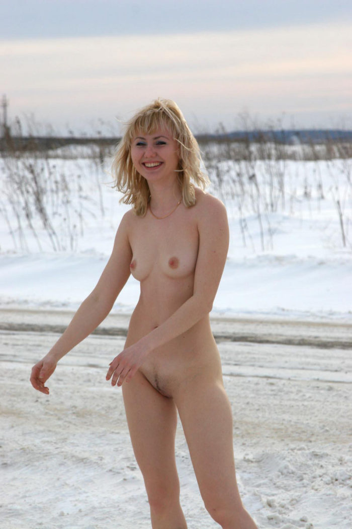Naked lady Natasha K near the monastery