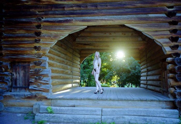 Nice blonde in black panties in Moscow park