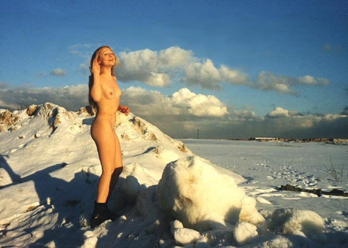 Old outdoors photos of russian blonde Elza