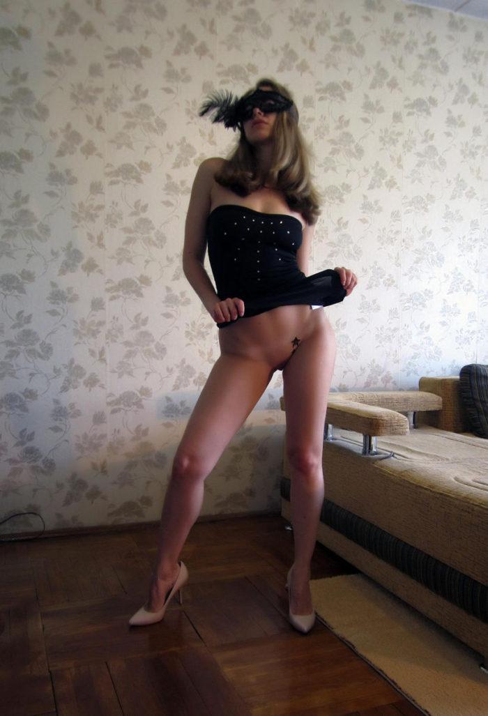 Russian amateur girl Alexxxa shows pierced pussy