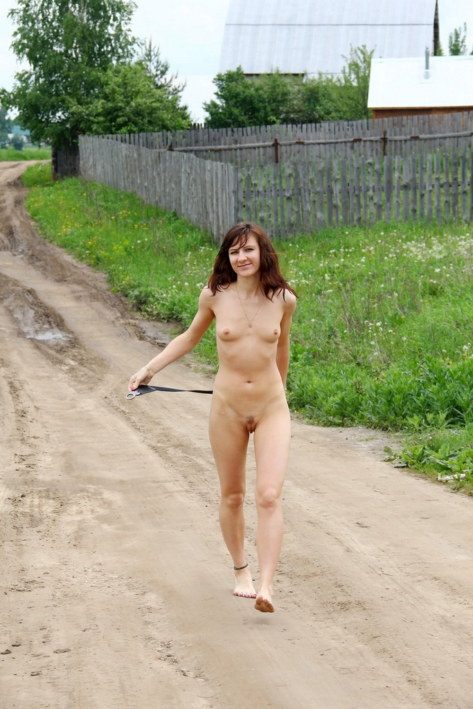 Russian girl Diana A walks naked at the village