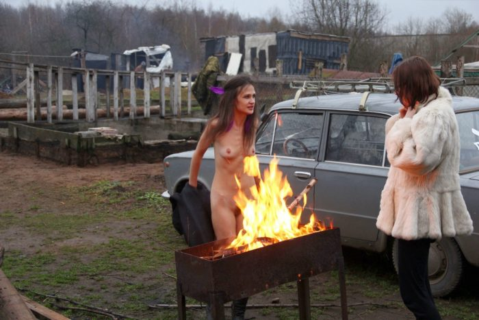Skinny russian girl Nadya prepare for BBQ at dacha