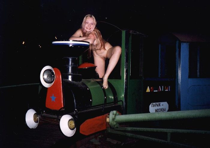 Sweet russian blonde posing on playground