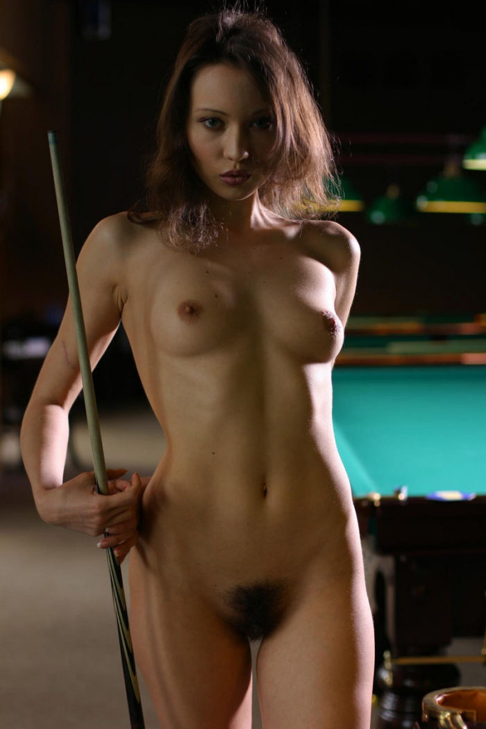 This Hot Teen Loves To Play Billiard Naked And Unshaven -9007