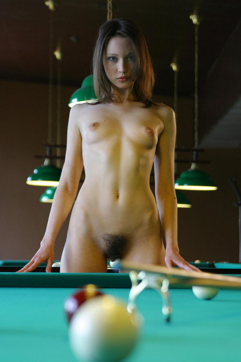 This Hot Teen Loves To Play Billiard Naked And Unshaven -8914