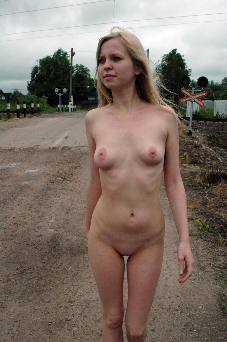 Young Blonde With Skinny Body At Railroad  Russian Sexy Girls-7350