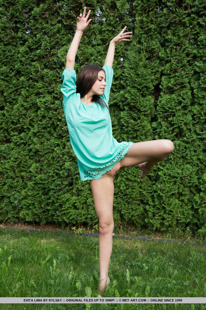 Evita Lima's variety of poses resembles a graceful dancer, contorting and bending in the garden. Her nubile, flexible body stands out against the deep verdant background.