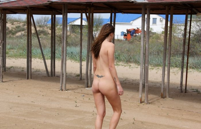 Girl with a nice body walks by the coast