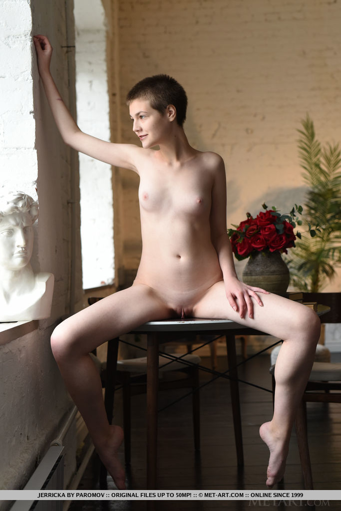 Newcomer Jerricka strips on the table baring her nubile body.
