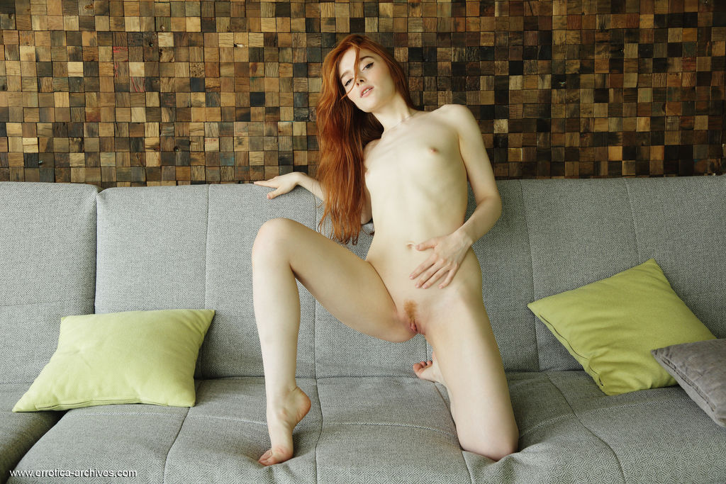 petit redhead nude couch