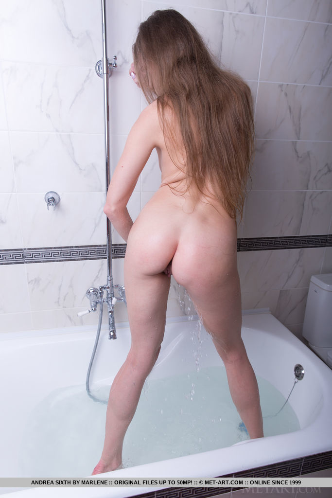 Andrea Sixth strips in the shower baring her nubile body with small cup cakes.