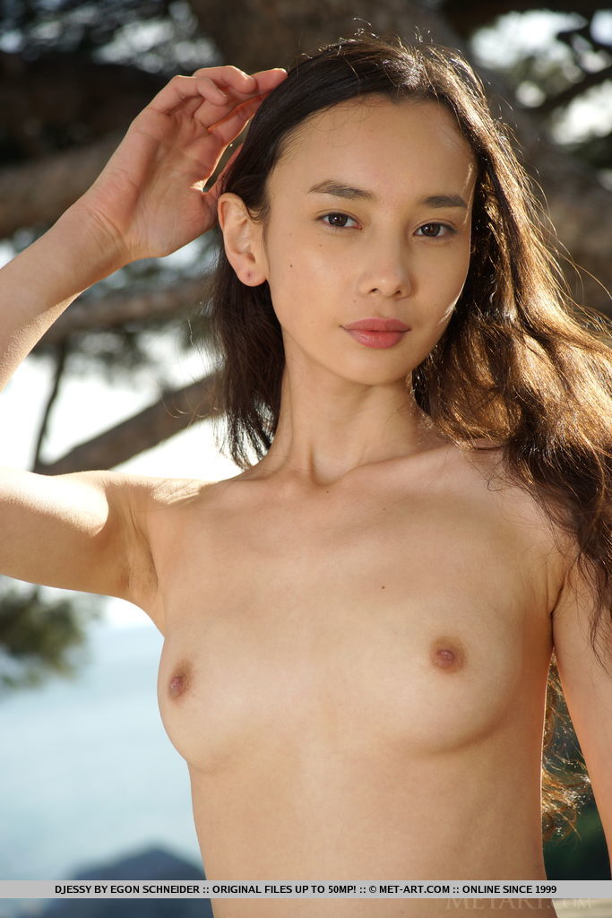 Djessy loves showing off her lean and slender body, and cute, unshaved snatch