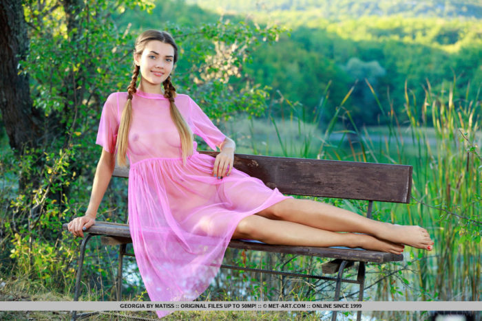 Georgia strips off her sheer pink dress and showcase her delicate, nubile body