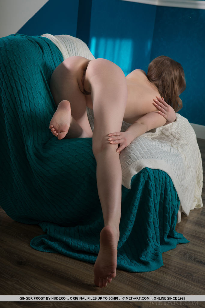 Ginger Frost takes off her red dress to flaunt her smooth body and pink assets