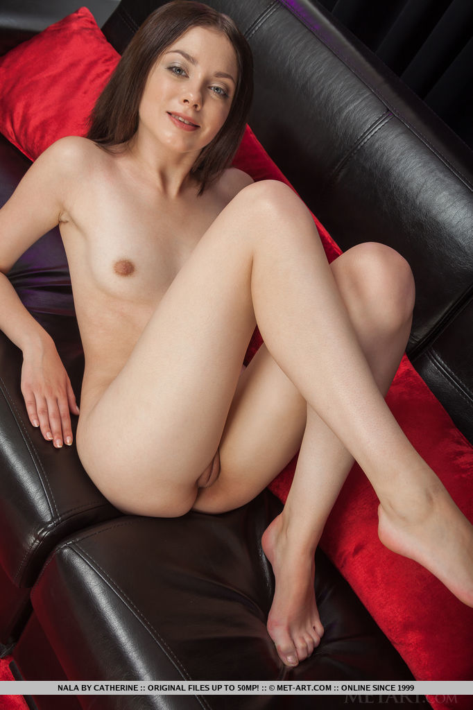Nala bares her smooth pussy and shows off her slender naked body on the sofa.