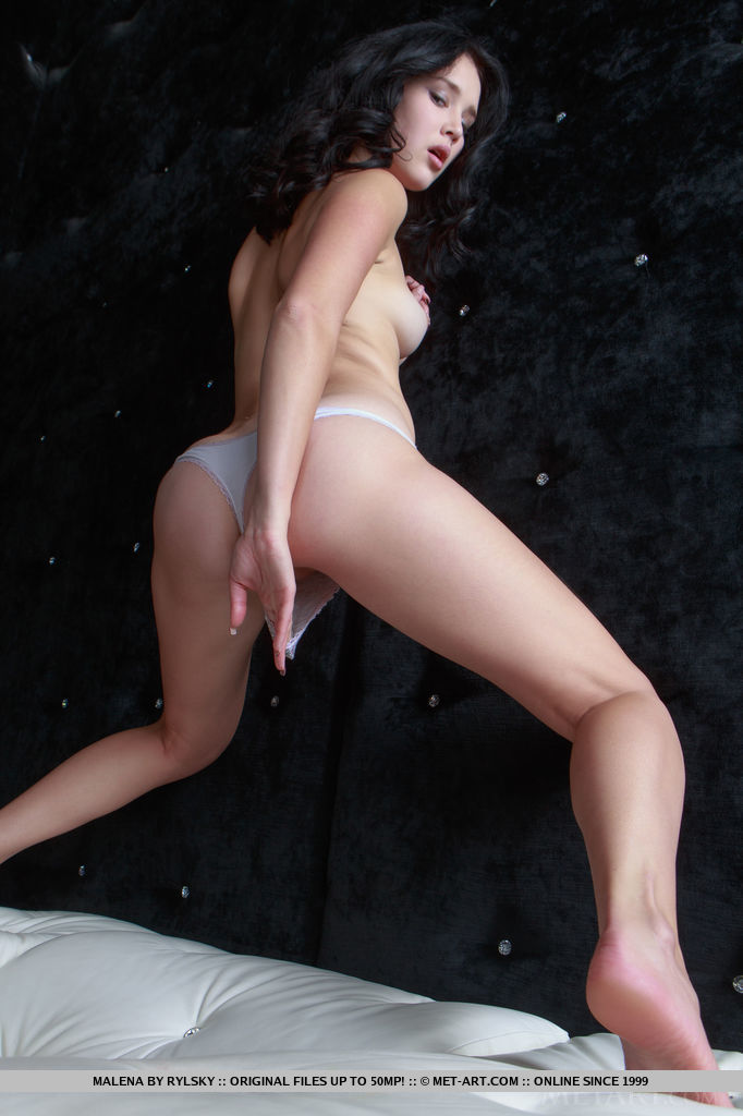 Raven-haired Malena poses in front of the camera sultry, teasing looks as she showcase her suckable nipples, delicious ass, and lickable pussy.
