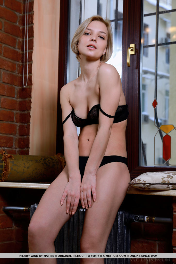 Newcomer Hilary Wind strips by the window baring her delectable body.