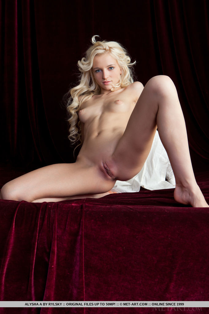 Sultry and sensual poses featuring the blonde bombshell, Alysha A.