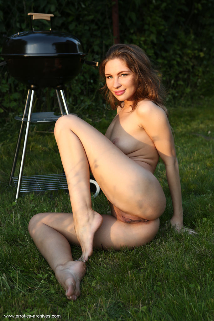 Galina A displays her gorgeous tits and sweet pussy as she poses outdoors.