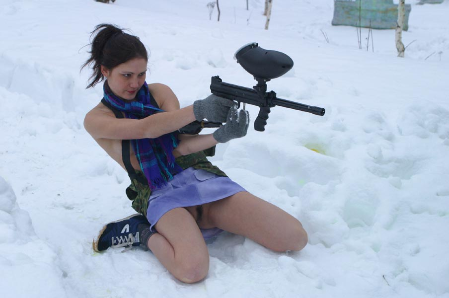 from Heath nude girl playing paintball