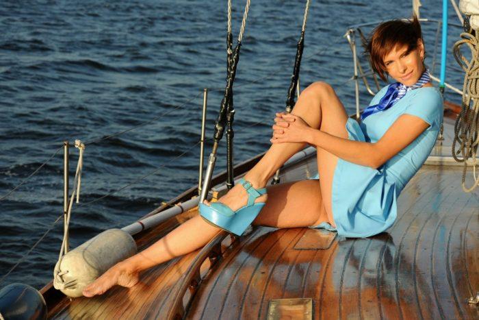 Leggy beauty Suzanna A is photographed on a luxury yacht