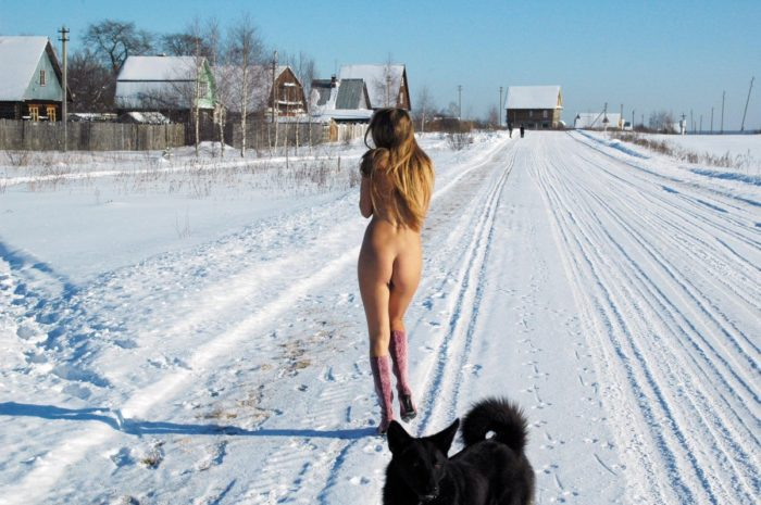 Russian girl Sveta S on a snowy field
