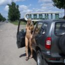 Naked blonde is photographed near a busy road