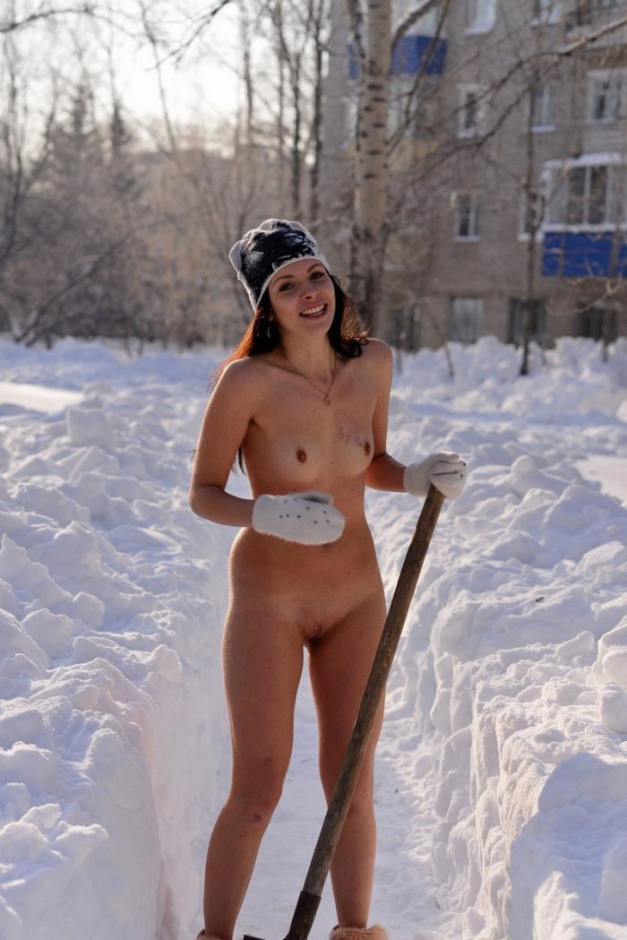 Naked Girl In Boots Clears Snow On The Track  Russian -8745