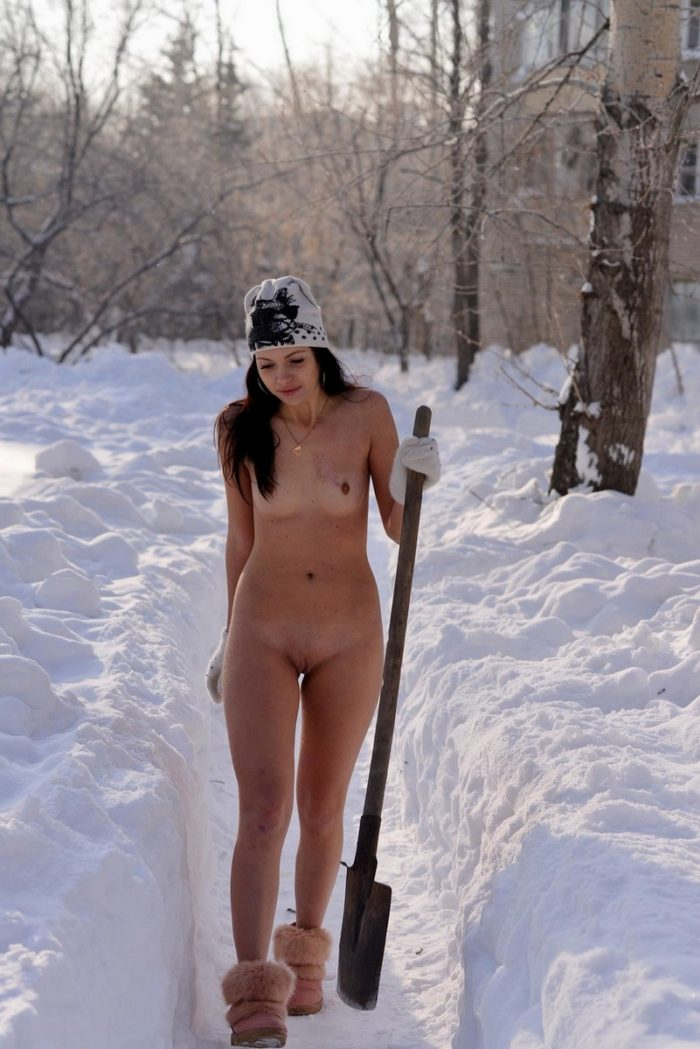 Naked Girl In Boots Clears Snow On The Track  Russian -2979