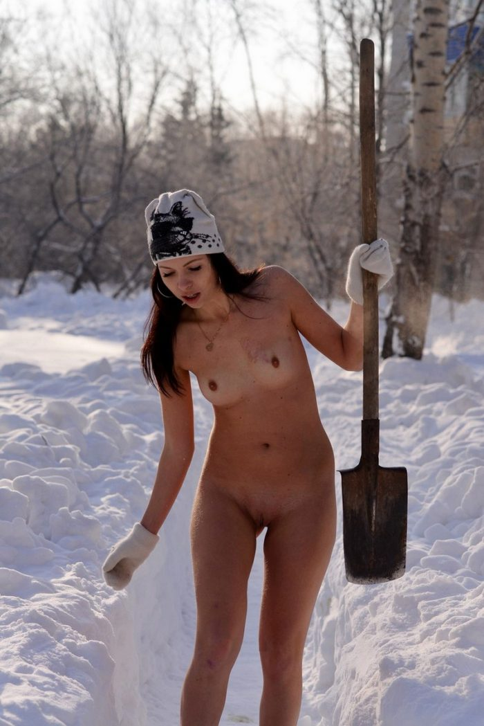 Naked Girl In Boots Clears Snow On The Track  Russian -5340