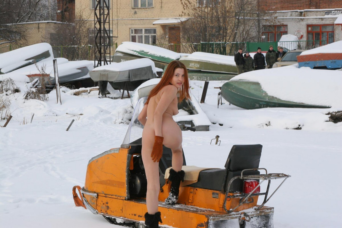 Naked snowmobile mature