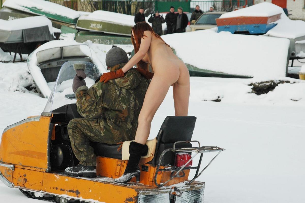Girl On Snowmobile Naked