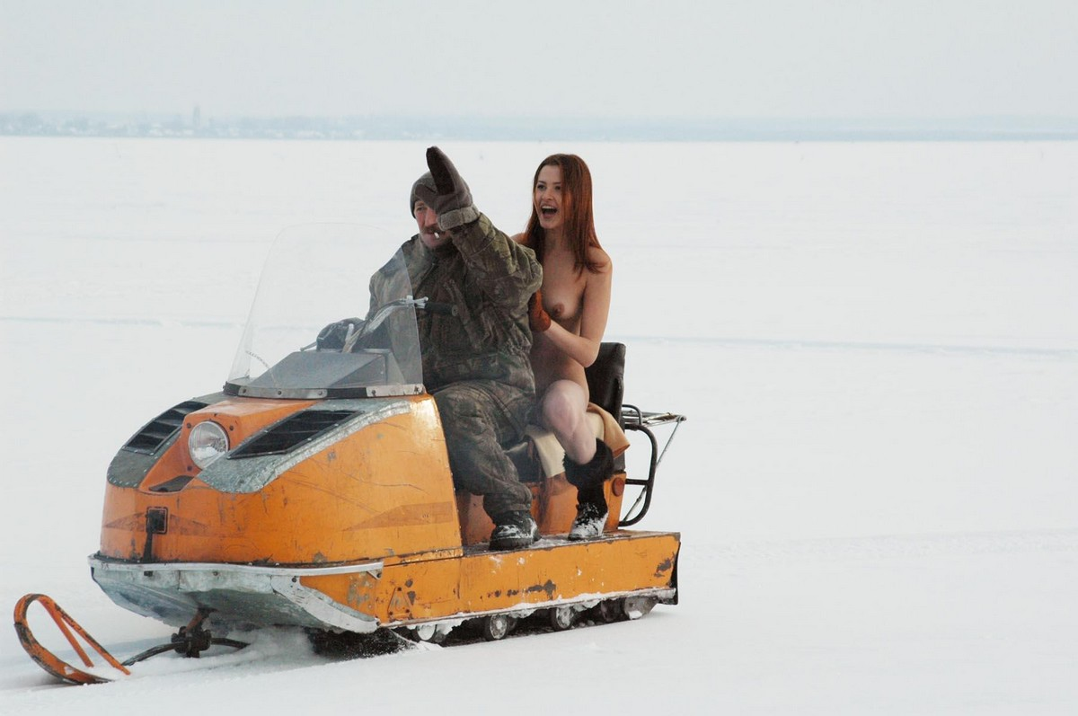 Topless Blonde Snowmobile Crash