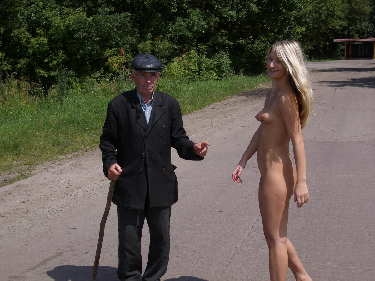 Naked blondes old men Shameless Blonde Walks Naked In Front Of An Old Man Russian Sexy Girls