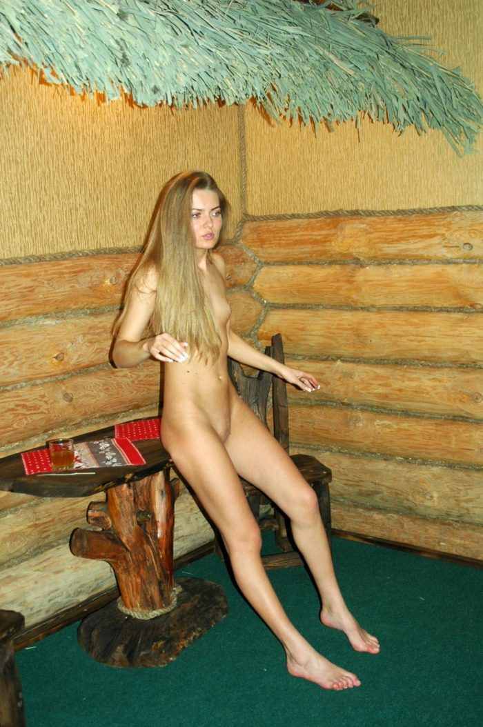 Slim blonde Sveta S posing in hotel room