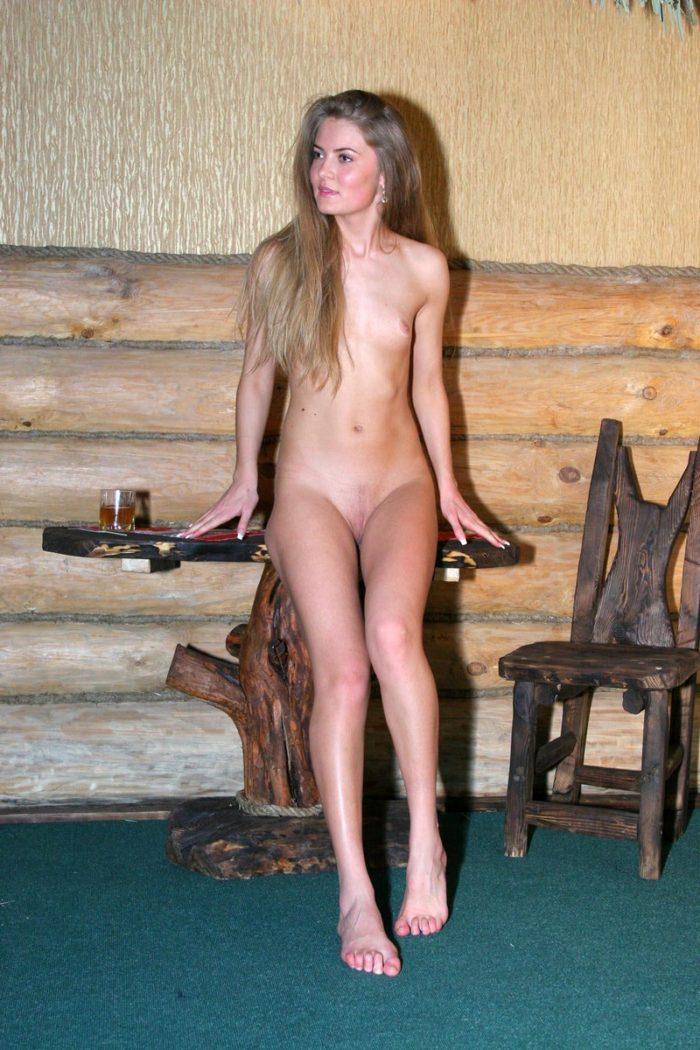 Slim blonde Sveta S posing in hotel room