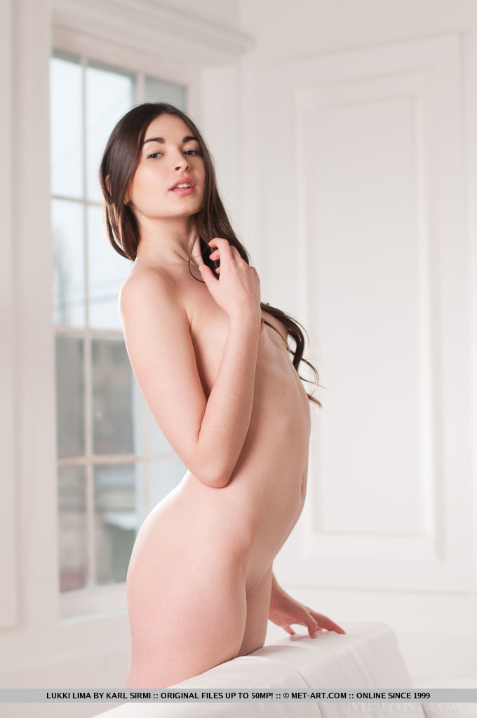 Lukki Lima s natural beauty and effortlessly erotic appeal stands out on the white color scheme.