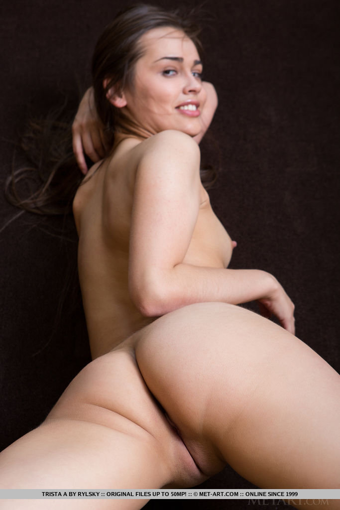 Trista showcases her slender body with small but delightfully puffy nipples, slim waist, tight rump, and athletic legs.