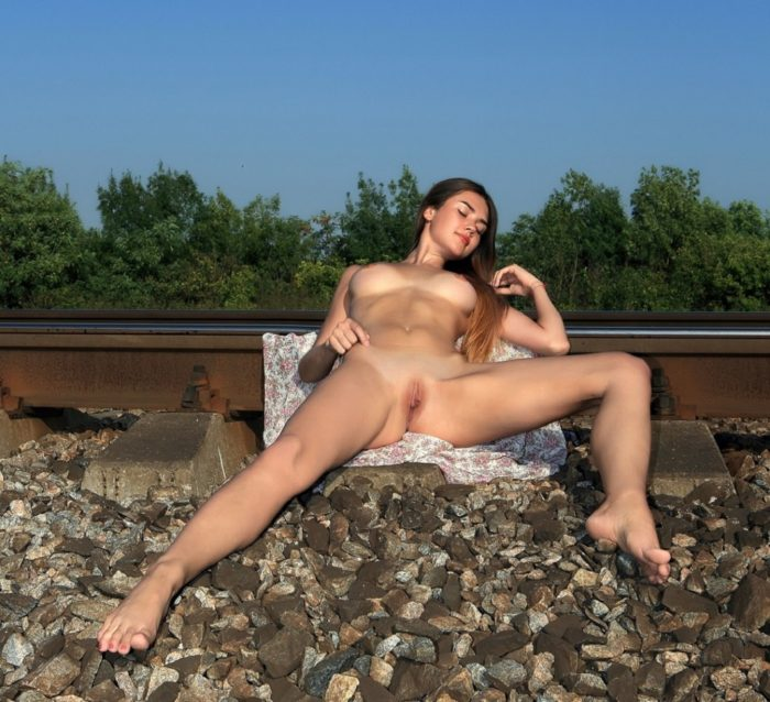 Very hot russian babe on railways